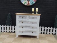 MAHOGANY CHEST OF DRAWERS PAINTED WITH LAURA ASHLEY PALE DOVE