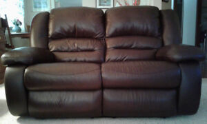 New Genuine Leather Reclining Loveseat