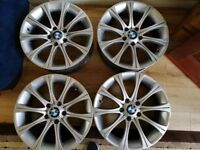BMW M SPORT 5X120 ALLOY WHEELS 18 INCH SILVER QUICK SALE CHEAP!!