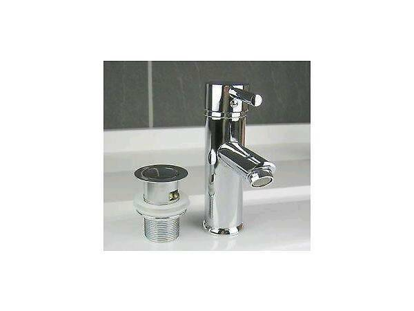 BRAND NEW High Quality Chrome Finish Single Lever Basin Sink Mixer Tap & Slotted Pop Up Waste