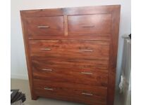 Solid wood walnut chest of drawers