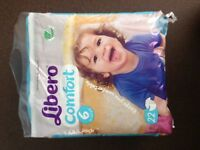 Libero Nappies, size 6 and 7. Brand new.