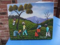 ORIGINAL OIL ON CANVAS BY HAITIAN ARTIST J.A. BERNARD SIGNED IN GOOD CONDITION UNFRAMED £20