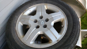 Four 17 inch dodge car rims with TPMS