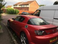 Mazda rx8 2.6,230 bhp,mot till may 2018,front end damage but is driveable