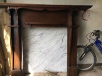 Fireplace mantle and marble piece