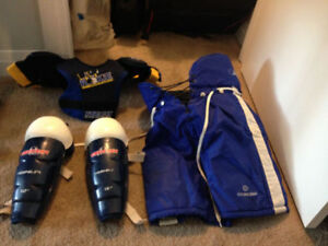 Hockey pants, shin guards, shoulder pads.