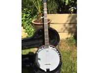 FENDER FB-54-5 STRING BANJO...as new + hard case and stand.