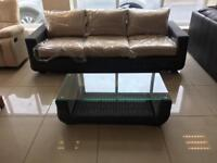 Brand New Designer Rattan 3 Seater Sofa And Coffee Table