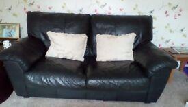 Black leather three seater sofa / settee