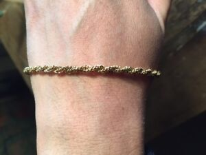 18K YELLOW GOLD TWISTED ROPE LINK BRACELET
