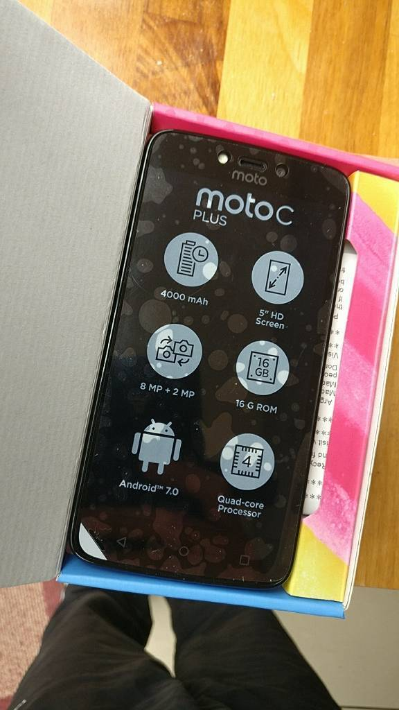 "Motorola Moto C Plus (Red) Unlocked Android 5"" Smartphone XT1723in Hednesford, StaffordshireGumtree - This was brought a few days ago for my partner and after I unboxed it and set it all up he said he wanted a larger screen...So tried to return to Argos and they said it cant be returned becasue the box is opened.So this is almost brand new, in box..."