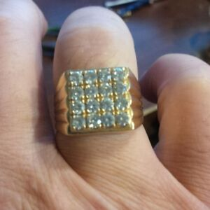 Gentlemen 18kt yellow gold prong cluster ring