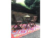 Patio set and funky outdoor rug