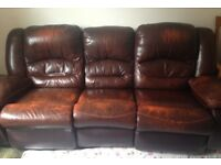 Dark brown 3 seater recliner sofa-still in good condition