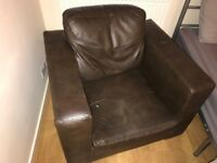 Brown leatherette armchair collect E3 Victoria Park