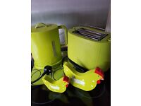 Lime green bodum kettle and toaster plus accessories