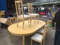 Lovely Beech 6 Chairs Dining Table Ready Good Condition