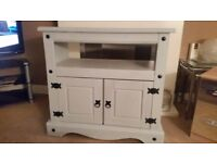 corona solid pine cabinet,grey chalk paint/hand waxed