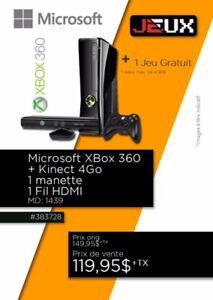 383728...CONSOLE XBOX 360...+ KINECT........$119.95