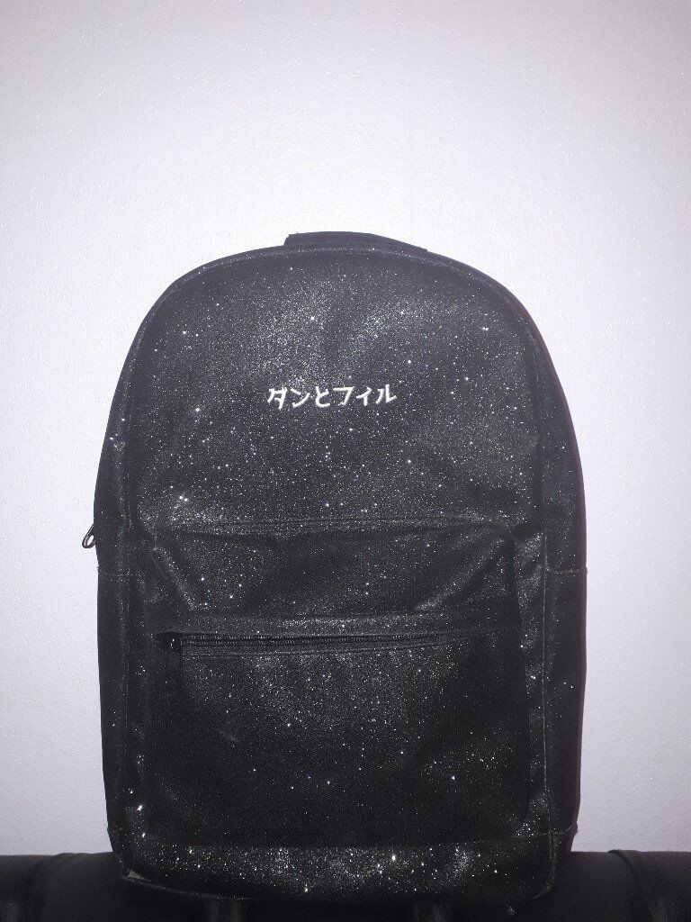 Dan And Phil Black Glitter Japan Backpack In Highcliffe