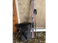 Skis poles and ski boots