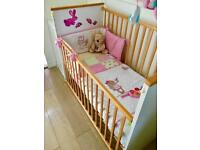 Beautiful White / Pine Quality Drop Side Baby Cot with Extras. New Condition.