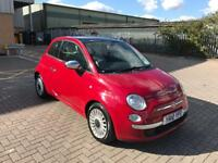 fiat 500 2010 10 plate 1.2 lougne pop pan glass sunroof alloy wheels service history mot