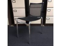 Static black mesh meeting chair