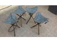 4 x Light Weight Folding Camping Stools with Carry Strap