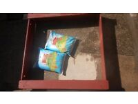 Plum wooden sandpit (& two bags of sand)