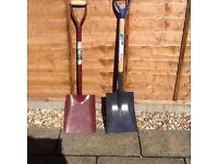 2 square mouthed spades/shovels