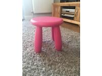 Ikea pink stall and pink table