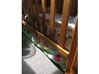 Mothercare cot and large Rainforest matching set