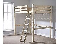 Double 4ft 6 HIGH Loft bunk bed - wooden High Sleeper Great for Studio Flat, Sleeps two adults