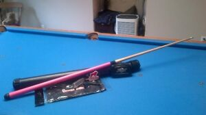 "52"" pink kids pool cue with case and accessories"