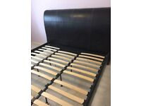 Super king leather sleigh bed