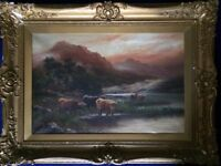 ANTIQUE OIL PAINTING ORNATE FRAME c1895 SCOTTISH LANDSCAPE HIGHLAND CATTLE WINSOR NEWTON CANVAS