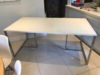 SIA Designer Cream Ivory Kitchen Dining Rectangular Table Wood Chrome Polished Steel Metal RRP £795