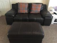 Dark brown leather sofa suite, 3 seater + 2 seater + foot stool