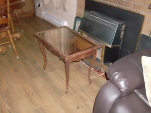 Glass Top Serving Table