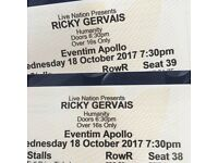 Ricky Gervais - Humanity tour - London 18 Oct 2017 - 2 stalls tickets - in hand