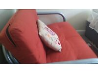FUTON, with quality metal frame, excellent clean condition, modern style & colour
