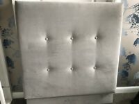** Single Headboard - Grey Velour **