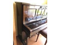 Piano John Broadwood upright 88 key over strung under damped piano