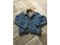 Topman denim jacket shearing closer and lining Size small