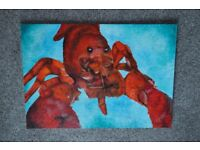 Modern Art Style Lobster Painting