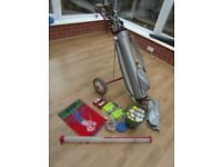GOLF CLUBS (16) , BAG,TROLLEY,BUCKET OF BALLS (MANY NEW ) TEES,3 BALL COLLECTORS,TRAINING BALL ETC.