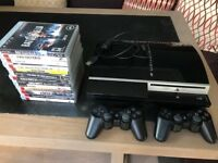 PS3, 2 controllers and 13 games