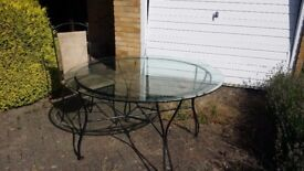 Beautiful glass table and metal chairs-excellent condition